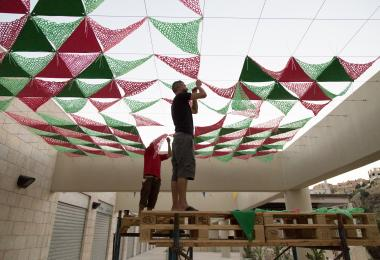 The installation of the canopies at Raghadan - Dina Haddadin made by Kees Chic