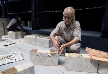 Composition of concrete blocks for The Golden Globe - Aziza Chaouni Projects