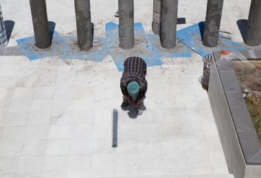 Construction of the columns for A Memorial For A Lost Courtyard I Have Never Been To - Sahel Al Hiyary