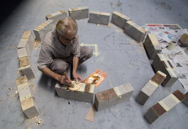 Gold leaf application onto concrete bricks for the Golden Globe - Aziza Chaouni Projects