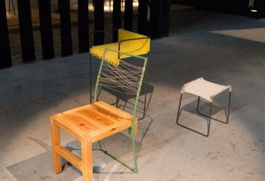 Green Chair, Yellow Chair, Rebar Coffee Stool