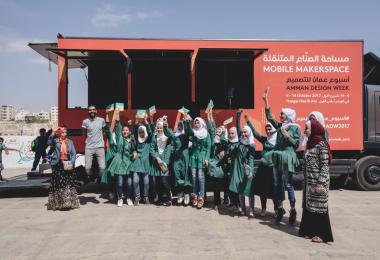 Ramlah Bint Abi Sufyan Elementary School for Girls, Zarqa- Mobile MakerSpace 2017. Photo: Hareth Tabbalat