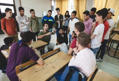 """How do hand tools work?"" workshop facilitated by Shamal Start/Fablab Irbid at the Prince Hassan Secondary School for Boys, Irbid - Mobile MakerSpace 2017. Photo: Hareth Tabbalat"