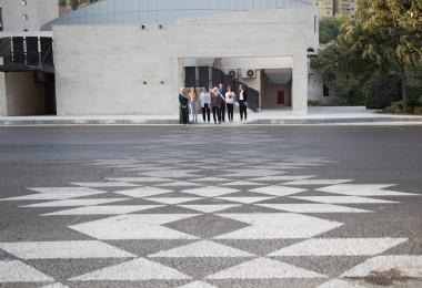 Testing out the new patterned crossing