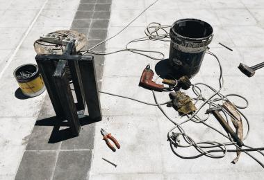 Tools used for construction of the columns for A Memorial For A Lost Courtyard I Have Never Been To - Sahel Al Hiyary