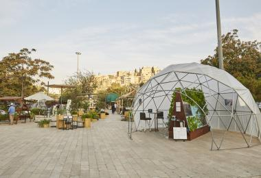 Geodesic Greenhouse Dome and Aquaponics A-frame, 2019 by The Green Hub - Kevin Schiltz, Amy Schiltz, Daniel Johannson, Humberto Martin © Amman Design Week 2019
